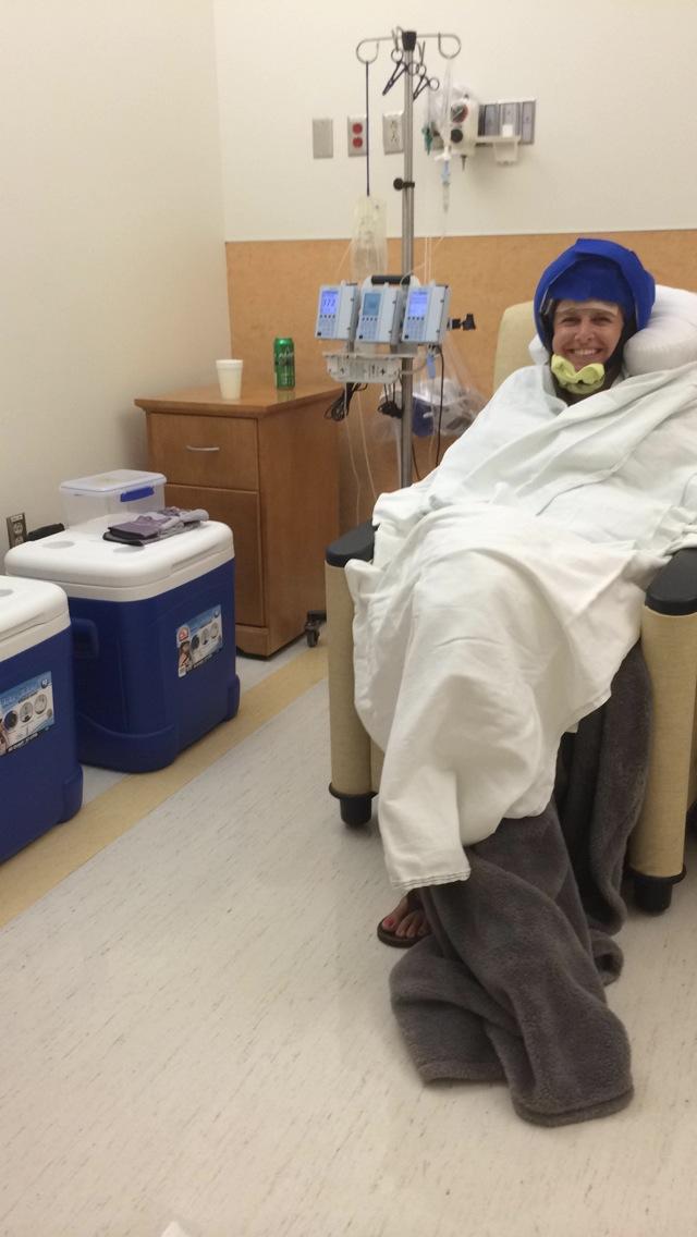 Amanda Johnson Cold Cap at Chemo